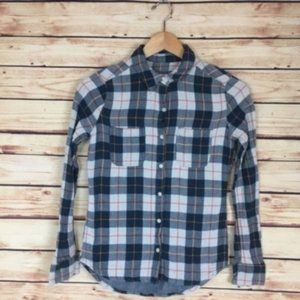 Mossimo Plaid Button Down Shirt Blue White Small